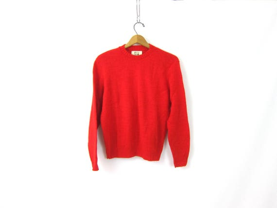 Simple Red Sweater Smaller Fit Vintage 80s Sweatshirt Cozy crewneck Pullover Sweater Jumper Womens Size Medium