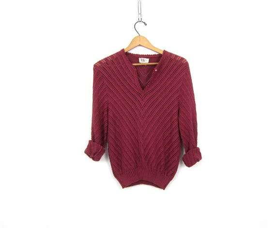 1970s Open Knit Crochet Sweater Plum Berry Purple Cut Out Knit Top SHEER Knit Cotton Sweater Vintage Hipster Pullover Womens Medium
