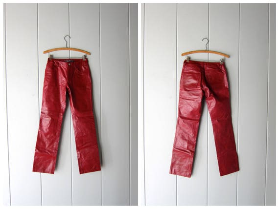 Dark Red Leather Pants 90s MOTORCYCLE BIKER Pants Leather Punk Rock Jeans Sexy High Waist Leather Pants Gap Brand Jeans Womens XS Small