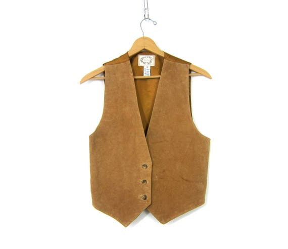 Suede leather vest Tan Brown Button Down Boho Chic Biker vest Casual Sleeveless Vest Jacket Tank Women's Size Medium