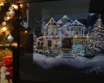 Victorian Christmas Eve Framed & Lighted Picture/Decor from the original paiting by Artist, Roseann Madia