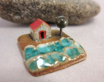 MyLand - Seaside Hut - Collectible 3x3 cm or 1.2x1.2 in. puzzle in stoneware