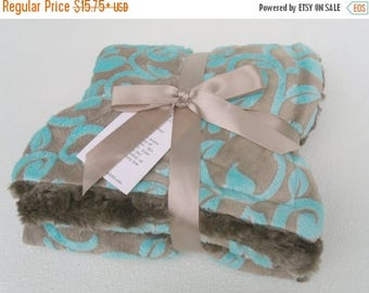 SALE Aqua Vine and Brown Minky Baby Blanket Can Be Personalized