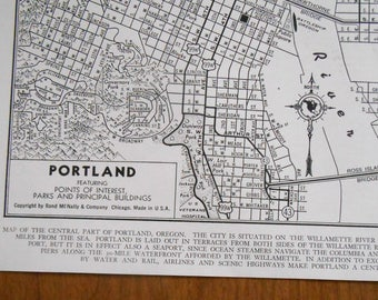 vintage street map, Portland Oregon City Map, 1940s wall art map, old maps