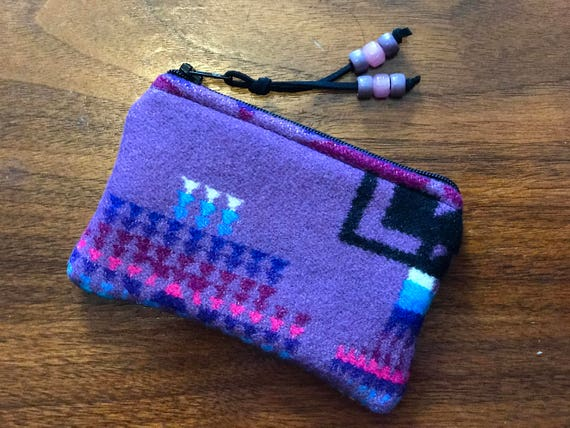 Wool Coin Purse / Phone Cord / Gift Card Holder / Zippered Pouch Purple Mini Chief Joseph