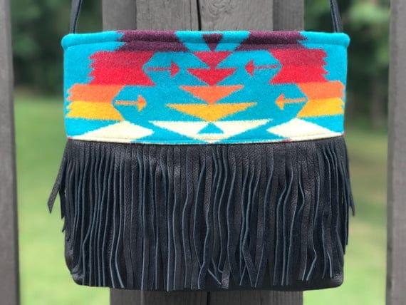 Wool Fringed Purse / Tote Crossbody Black & Turquoise Sunburst