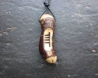 Natural Wood Ogham Pendant - Hazel/Coll - for Good Luck and Inspiration.
