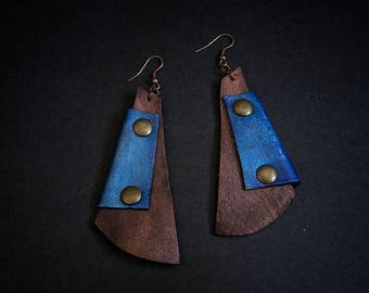 40% OFF SALE Blue and bronze leather earrings  Designer jewelry Elegant dangle earrings