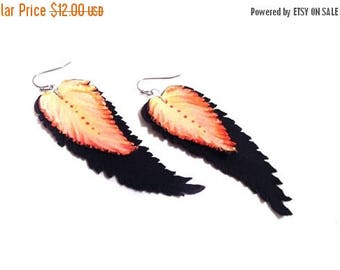 50% OFF SALE Feather earrings. Dangle leather earrings. Leather jewelry