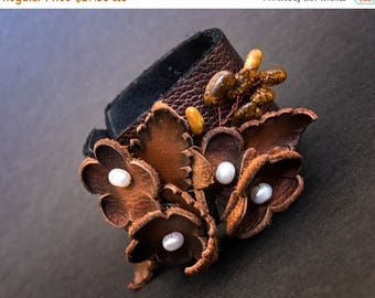 50% OFF SALE 40 Percent OFF Sale Elegant rustic Leather flower bracelet with pearls Floral wristband Leather jewelry