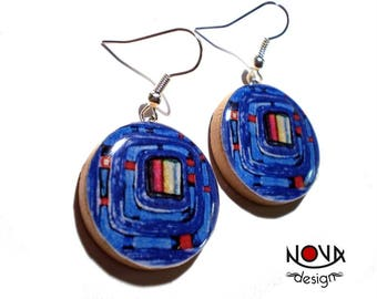 * Earrings * Hundertwasser: Blue