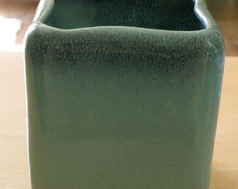 christmasinjuly GLIDDEN vase four sided green/blue glaze