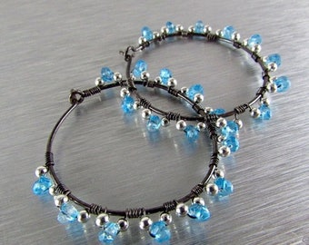 25 OFF Blue Gemstone Wrapped Hoops