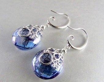 25 OFF Denim Blue Quartz Bubble Earrings, Silver And Blue Quartz Earrings, Ocean Earrings
