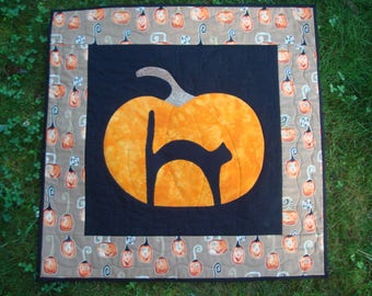 Fall Pumpkin and Black Cat Quilted Wallhanging
