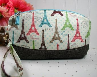 Zipper Wristlet, Zipper Clutch, Wristlet Purse ..Paris Spring Expo, Eiffel Tower