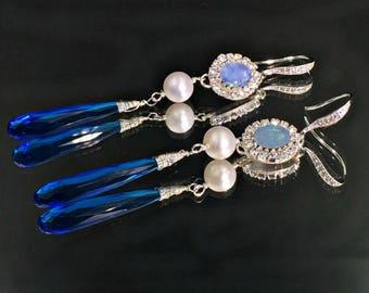 Pearl Opal Earrings Australian Opal Earrings Australian Black Opal Earrings Swiss Blue Topaz Quartz, Diamond Bezel Look Long Dangle Earrings