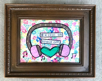 Music on world off framed mixed media collage art by Things With Wings