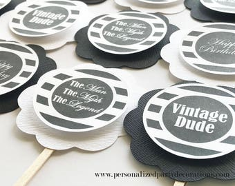 Black And White Aged To Perfection Birthday Party Cupcake Toppers, Male or Female Milestone Birthday, Adult Party Décor-Quick, Free Shipping