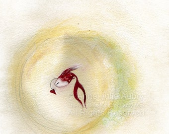 50% Off - Summer SALE  Little Red Fish - open edition print