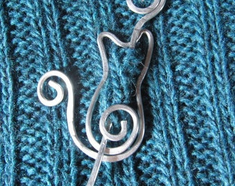 Kitty Cat Pin Brooch for Shawls, Sweaters, Scarves, Jackets, Wraps, Cat Pin, Shawl Pin, Knitted Shawl Pin