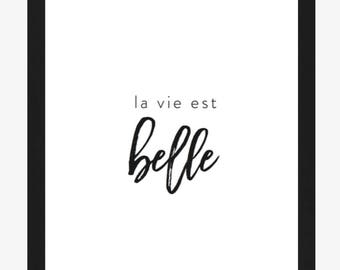 Typography, La Vie est Belle, Life is Beautiful, French Words, Paris Collection, Quote, 8x10 Black and White Gallery Wall, Francophile Gift