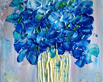 Blue Flowers Bouquet Painting on Canvas Original Art by Luiza Vizoli