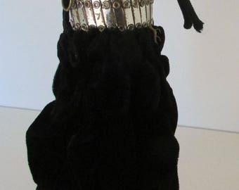 Vintage Purse Gate Top Beggars Bag Black Velvet and Silver
