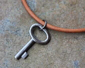 Rustic Key Necklace- Dark oxidized sterling silver key on brown leather cord- mens or women's - key to my heart -free shipping USA