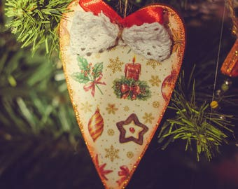 Rustic Wooden Heart, Christmas tree ornaments, Christmas Xmas gift Christmas ornaments Holiday decoration Christmas gift, Christmas decor