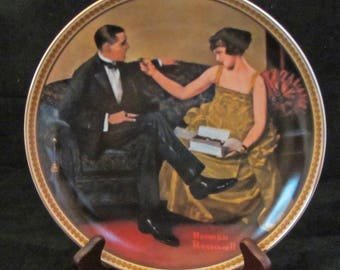 "Norman Rockwell Collector Plate ""Flirting in the Parlor "" 1980's Vintage Porcelain"