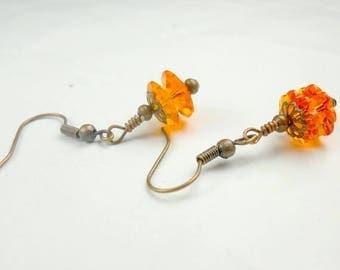 SALE, 50%, Orange Pumpkin in swarovski crystal earrings, halloween earrings, pumpkins, crystal earrings, holiday earrings, orange earrings,