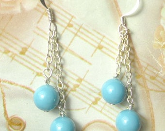 70% SALE Turquoise Glass Pearls dangle earrings on silver plated chains, bridal earrings in turquoise pearls, pearl earrings, holiday earrin