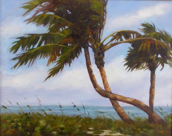 Landscape Palm Painting, Crossed Palms, Giclee Print on Stretched Canvas from Original Oil Painting