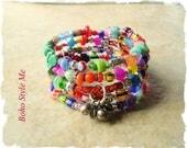 Boho Gypsy Bracelet, Colorful Bohemian Fashion, Wrap Bracelet, Layered Beaded Bracelet Boho Style Me, Kaye Kraus