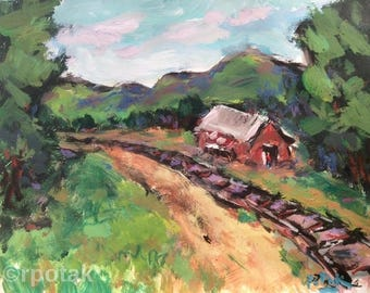 Expressive building in New England,   12 x 12 in, New England  Scenic Locations, Russ Potak painting, In the Berkshires, Old Train Depot,