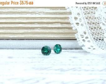 Emerald Green Studs Small Green Earrings 4mm Studs Dainty Earrings May Birthstone Surgical Steel