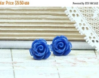 Royal Blue Earrings Rose Stud Earrings Blue Rose Earrings Blue Flower Studs Rose Earrings Hypoallergenic