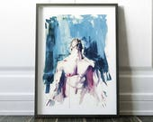 Bathroom Prints Wall Art, Body Prints, Sexy Mens Gift, Prints for Framing, Gay Art Poster, Gay Art Male, Watercolor Wall Art, Nudeart Print