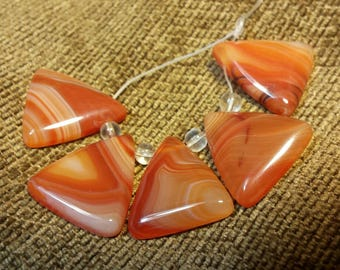 Natural Madagascar Agate Set - Orange Triangle #1