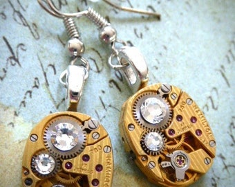 Earrings - Gold Hamilton  - Steampunk Earrings - Watch Movements - Real Swarovski Crystals - For her Repurposed art