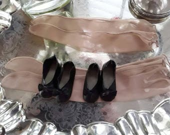 Vintage Doll Stockings and Black Shoes