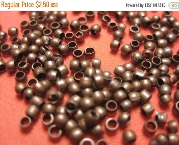 SUMMER CLEARANCE Supplies - 2mm Antique Brown Brass Based Crimps Lead Free - 300 pcs