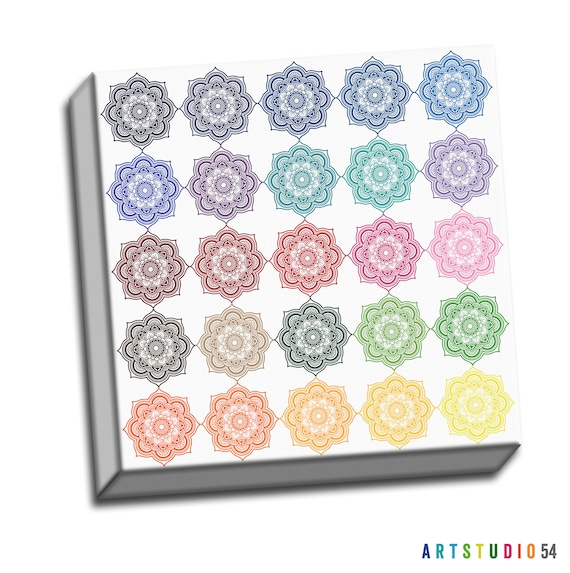 """Mandala Canvas - Insecurity Knocks from Time Typography Quote - 6""""x16 to 36""""x36"""" - 1.25 Bar Gallery Wrapped Canvas - artstudio54"""