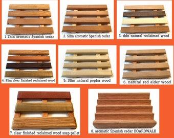 8 Soap Dish Sample Pack - 4 styles - thin, slim, pallet and Boardwalk - several wood types - poplar, alder, Spanish cedar & multi reclaimed