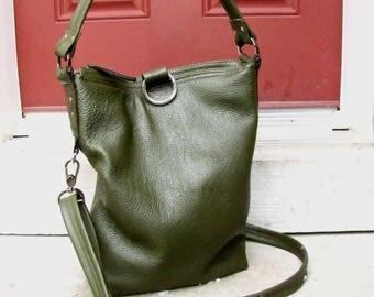 Green leahter bag, Olive Green Leather Shoulder tote, Messenger bag, 3 Way fold over purse