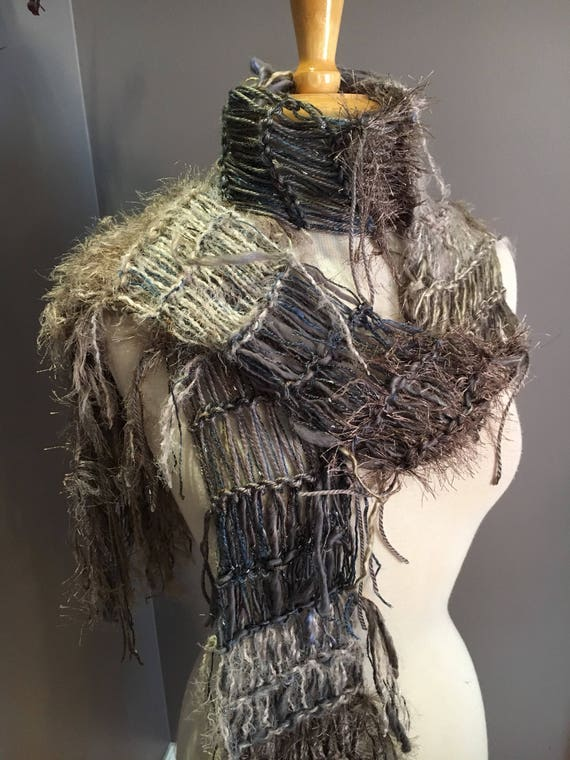 Hand knit Fringed lightweight scarf with art yarn and fringe, Faix fur scarf, taupe grey blue scarf, Fringed long Knit scarf, boho chic