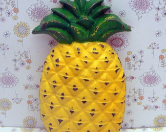 Pineapple Cast Iron Shabby Chic Tropical Symbol of Hospitality Green Yellow Decor