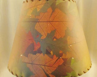 Oak Leaf Botanical Lampshade, Pressed Leaf Lamp Shade, Rustic Woodland Decor Lampshade, Fall Leaf Lampshade, Forest Oak Tree Decor Lighting