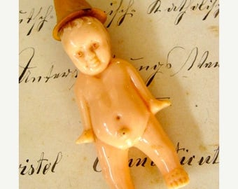ONSALE Striking Rare Antique Celluloid Boy Doll exposed Penis